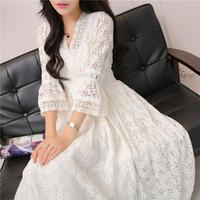 Spring Summer Casual Elegant Lace Dress Women's Maxi Ankle Length Party Festival Lace Dress Prom Gown Female Vestidos Dress Z113