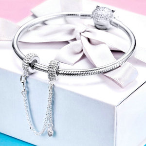 Image 3 - WOSTU Pave Inspiration Safety Chain 100% 925 Sterling Silver Charm Fit Original Bracelet DIY Bangles For Woman Fashion Jewelry