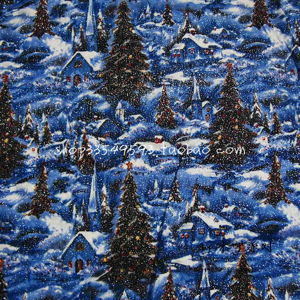 105x100cm christmas snow forest house bronzed dark blue background cotton fabric for christmas day decoration diy afck646