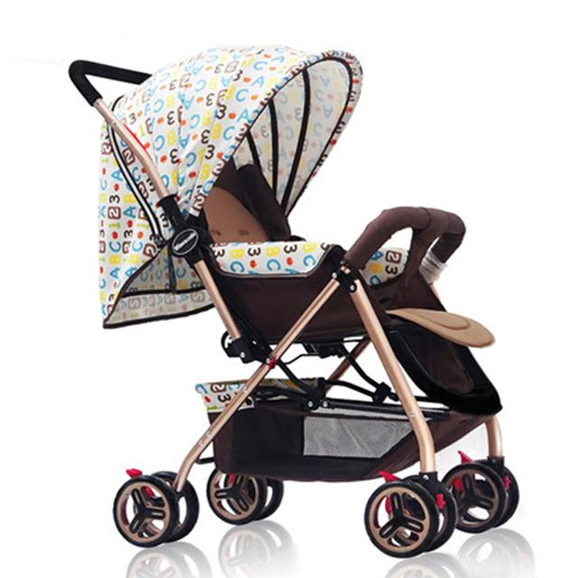 Lujo Cochecito de Bebé 3 en 1 Portátil Plegable Kinderwagen Sentarse y Acostarse para Recién Nacido bebé Stoller Bebé Carro de Cuatro ruedas