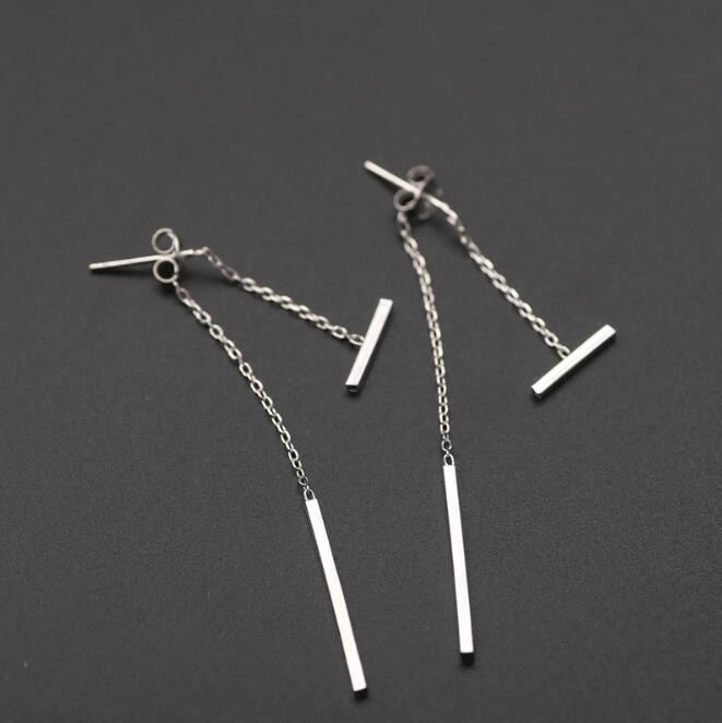 Shuangshuo Silver Simple T Bar Stud Earringss