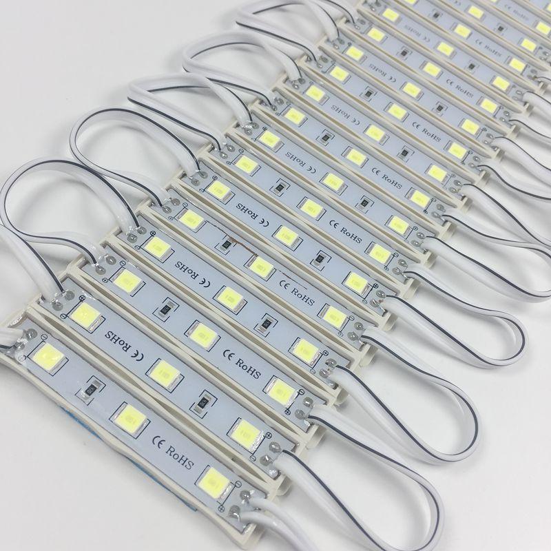 10 Buah/Banyak Modul LED 5054 3 LED DC12V Tahan Air Desain Modul LED Warna Putih Super Terang Lampu