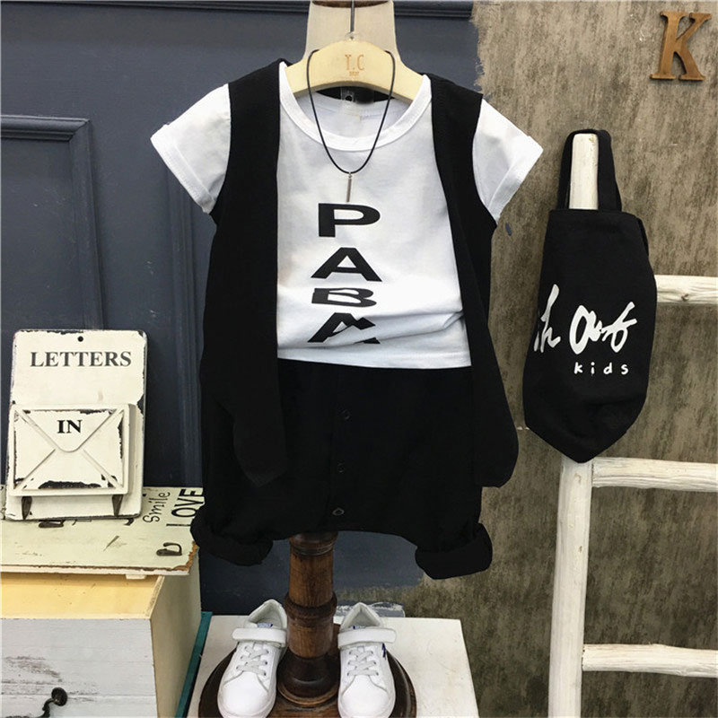 New summer casual boys kid's vest+Letter print short sleeve t-shirt+loose shorts 3 pcs Children clothing set Y2227 toddler baby boys summer casual t shirt camera print t shirt tops short sleeve