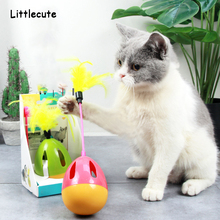 Interactive Dog Cat Toy Feather Pet Sound Squeak Ball Toys Pets IQ Training Playing Scratching Cats Wand With Bell For Dogs