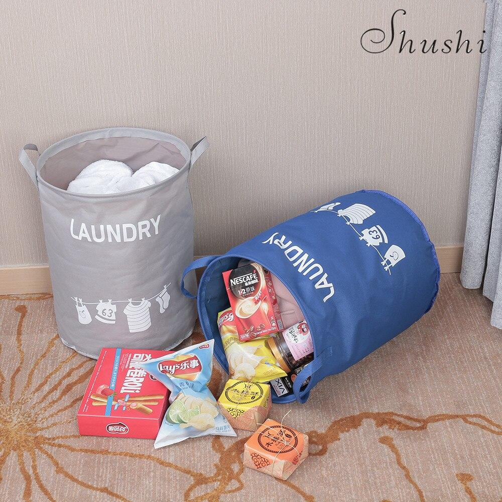 Shushi Waterproof Oxford Clothing Laundry Baskets Washing Hotel Home Laundry Basket Storage Containers Kids Toys Organizer New