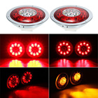 2X 12V/24V 4.3'' 19 LED Car Truck Trailer Lorry Brake Stop Turn Tail Light Lamp Two-color edge lights Taillights Car Accessories