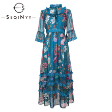 SEQINYY Midi Dress 2019 Summer New Fashion Design Half Flare Sleeve Flowers Printed Loose A-line Casual Blue Chiffon