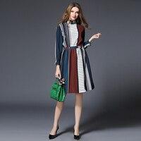 2017 여성 긴 소매 인쇄 히트 드레스 패션 인쇄 작업 스트라이프 드레스 러플 긴 소매 드레