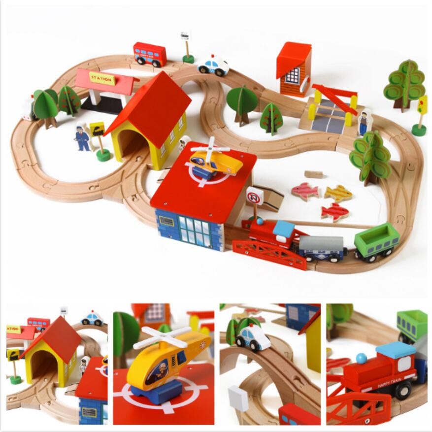 En bois Jouets Éducatifs 2 Dans 1 Magnétique Voiture Jouet De Pêche et En Bois Empilable Rail Train Ensemble Pour Les Enfants En Bas Âge (69 pcs)