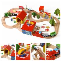 Onshine Wooden Educational Toys 2 In 1 Magnetic Car Toy Fishing And Wooden Stacking Rail Train