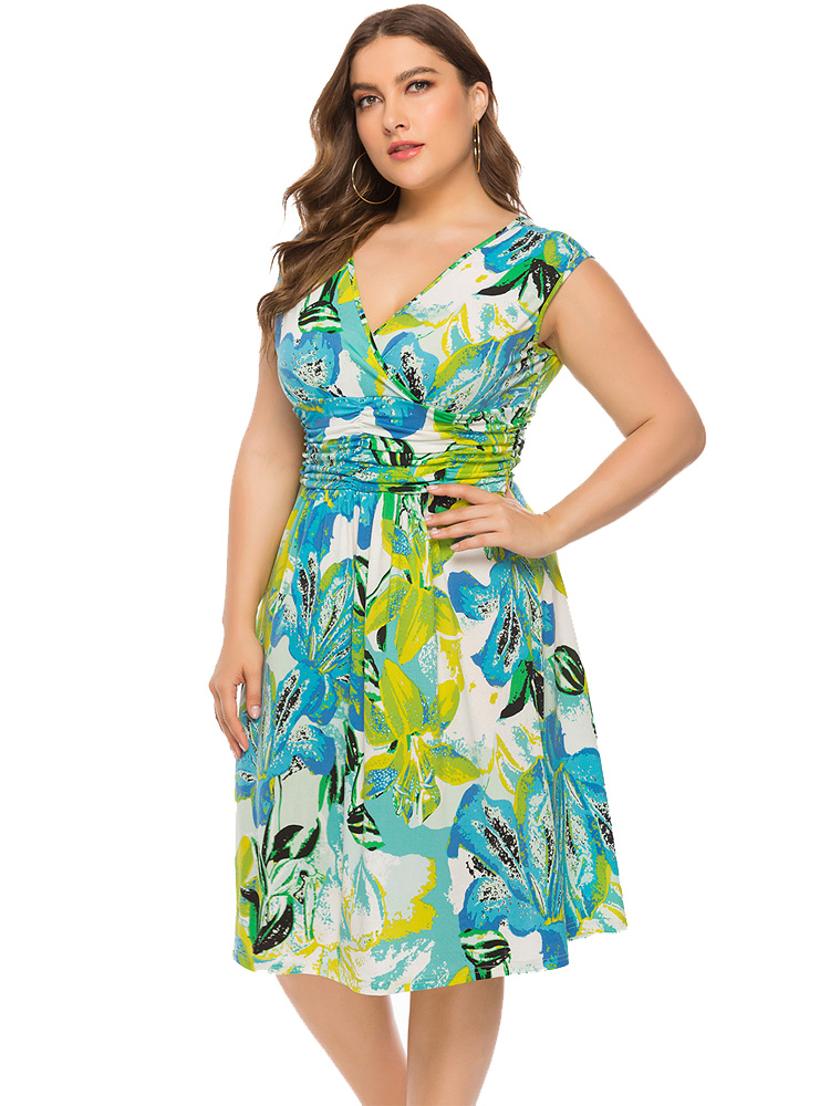 Wipalo Plus Size Summer Print Holiday Dress Women New Floral Printed Knee-Length Dress Beach Holiday Green Dresses 6XL