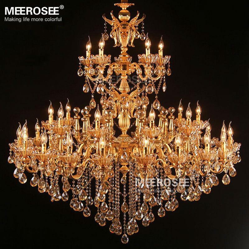 Grand lustre en cristal doré royal Lustres Cristal Suspension Projet - Éclairage intérieur