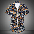 2016 men broken beautiful short - sleeved shirt in summer Big yards urban popular fashion