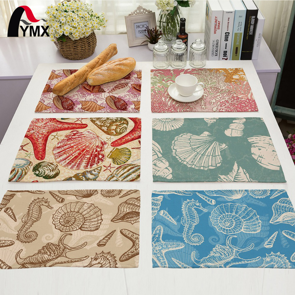 6 Style Table Napkins Shell Hippocampus Starfish Coral Conch Printed Cloth Dinner Napkins 2017 New Reusable Table Napkins