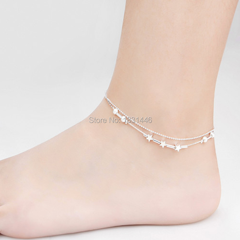 Fashion Foot Anklets font b Jewelry b font Shine Double Tube Sliver Chain Lobster Ankle Bracelet