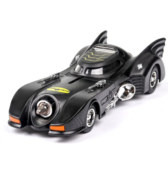 Dc Super Heroes Batman Diecast Car 1989 Batmobile Metal Model With Light And Sound Pull Back Toys Collection For Gifts
