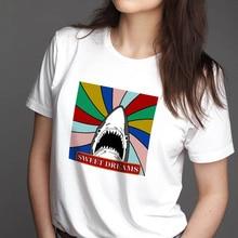 2QIMU Summer Top Tees 100% Cotton 2019 Funny Print Casual Fashion T-shirt Women Short Sleeve Streetwear