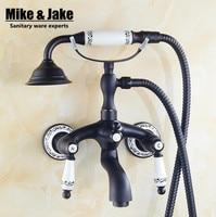 Black brone bath faucet shower mixer porcelain shower faucet bathroom telephone bath faucet with hand shower bathroom shower tap
