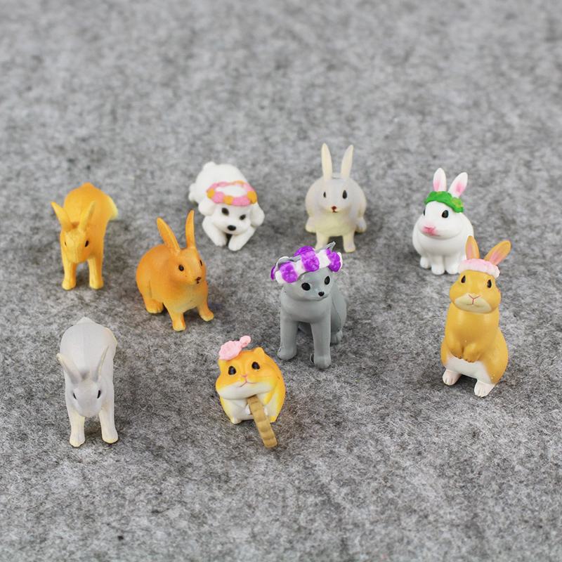 9pcs lot Animal rabbit cow dog sheep Simulation Model PVC Figure font b toy b font
