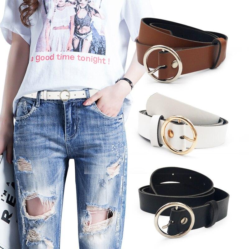 Женский кожаный ремень, новые круглые пряжки, ремни для женщин, для досуга, джинсы, дикие, без шпильки, металлическая пряжка, женский ремень