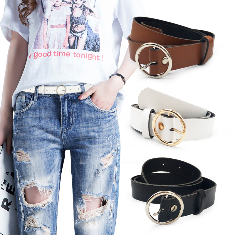 HTB1H14DV3HqK1RjSZJnq6zNLpXa4 - Women leather belt Newest Round buckle belts female leisure jeans wild without pin metal buckle Women strap belt