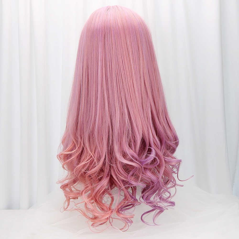 28 ''синтетические длинные завитые парики Лолиты с челкой розовый фиолетовый Омбре Косплей парики Лолита Парики для женщин девочек термостойкие Friber