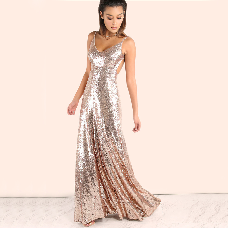 COLROVIE Rose Gold Sequin Party Maxi Dress 2017 Sexy Backless Slip Long Summer Dresses Women Empire Elegant A Line Club Dress 8