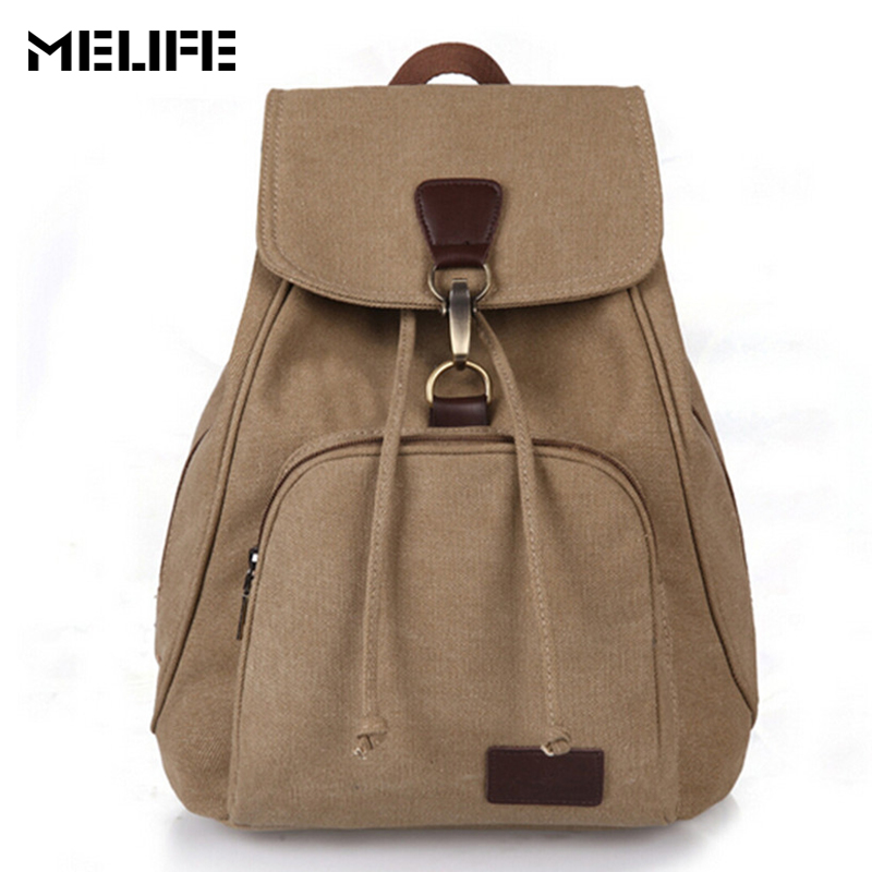 MELIFE New Vintage woman Canvas Backpack for summer Fashion Lock String Backpacks Travel Leisure shopping bag for Teenager girls