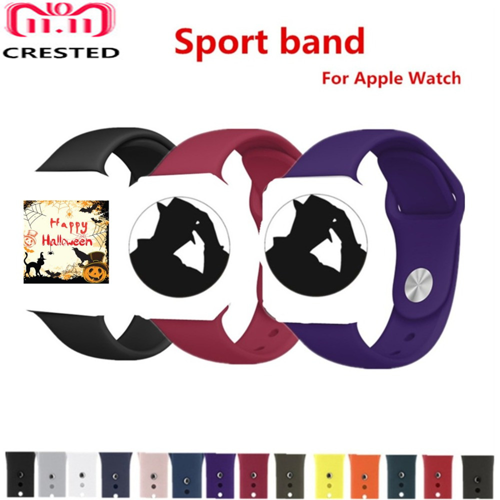 CRESTED silicone Sport strap For Apple Watch 4 band 44mm 40mm correa iwatch series 3/2/1 42mm/38mm wrist Bracelet Rubber belt 20 colors sport band for apple watch band 44mm 40mm 38mm 42mm replacement watch strap for iwatch bands series 4 3 2 1