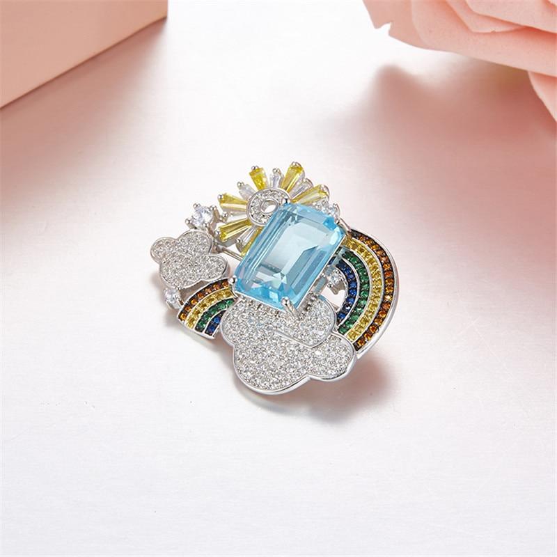 Takı ve Aksesuarları'ten Broşlar'de Marka Yeni Varış Güneş Bulut Gökkuşağı Kristal kadınlar için mavi rhinestone zirkon 925 ayar gümüş Broş femme bijoux'da  Grup 1
