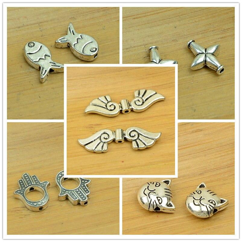 Alliage perle aile/hibou/poisson/dauphin/papillon/croix/coeur/nœud papillon/chat forme petit trou breloque antique argent bijoux à bricoler soi-même accessoires