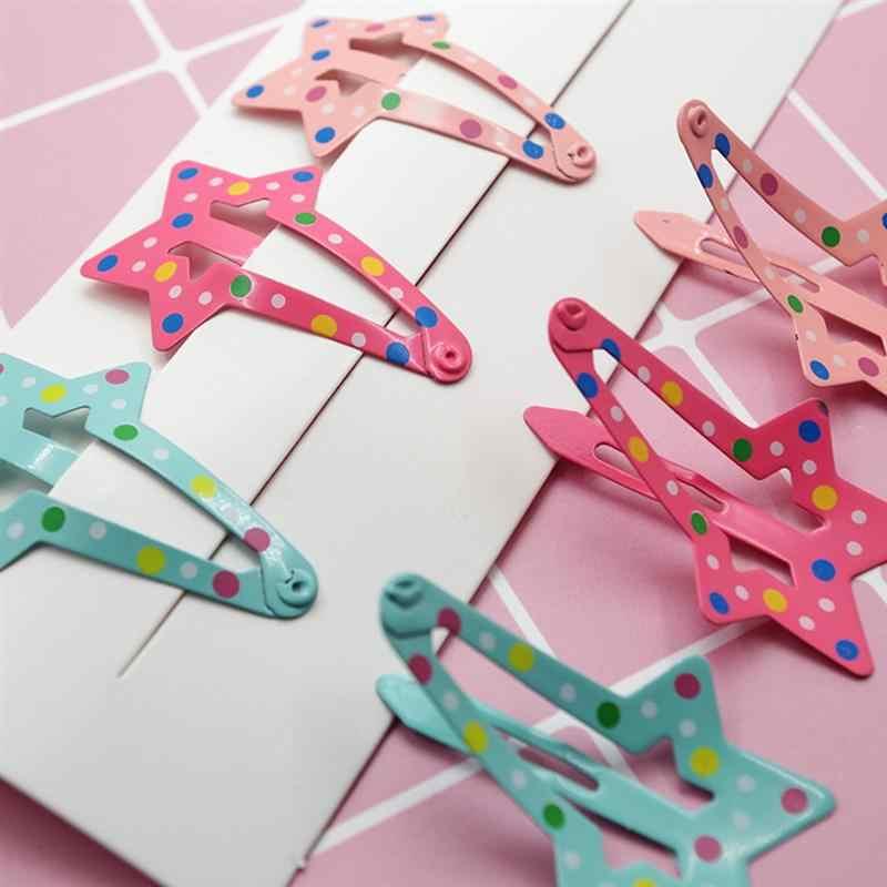 6pcs Hairpins น่ารักน่ารักโลหะการพิมพ์ด้านข้างคลิป Dot ผมคลิป Star Hairpins เด็กผู้หญิง