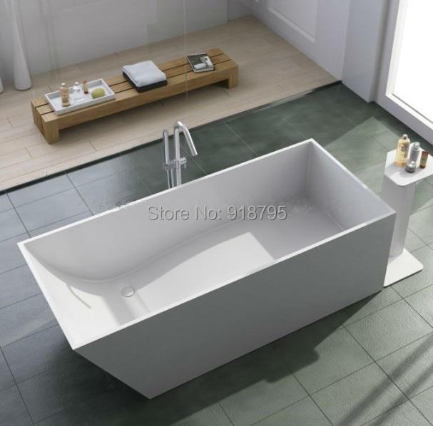1600x720x550mm Solid Surface Stone CUPC Approval Bathtub Rectangular Freestanding Corian Matt Or Glossy Finishing Tub RS6548