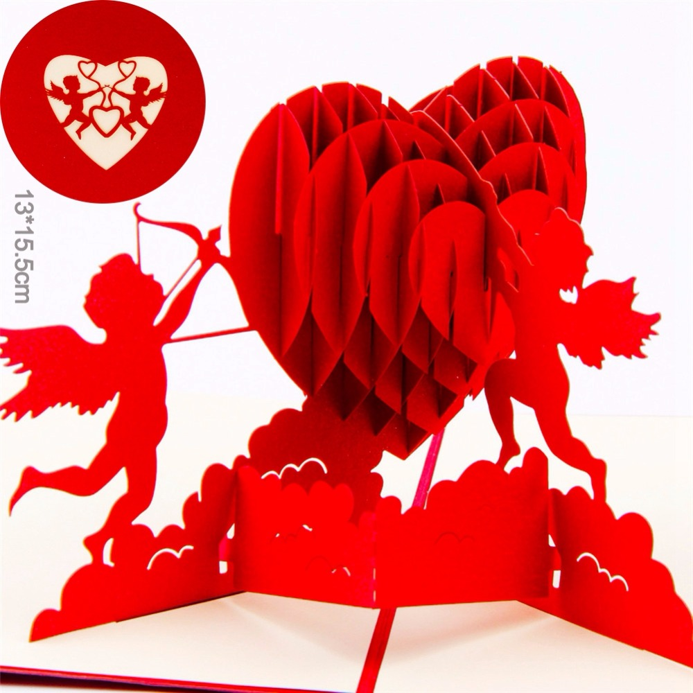 3d pop up romantic wedding invitation lover valentines day postcards greeting card laser cut handmade new year
