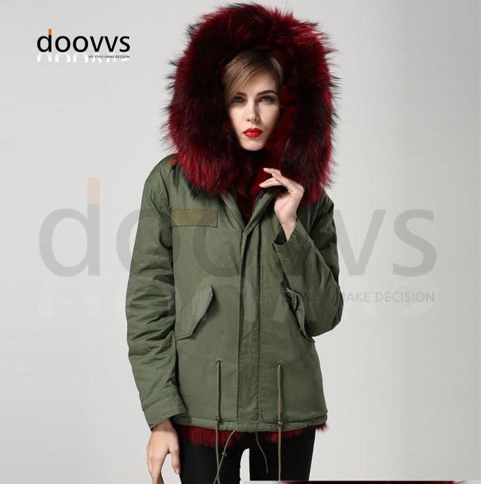 Anggur merah nyata bulu rubah kerah mantel bulu rubah nyata jaket - Pakaian Wanita - Foto 3