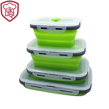Silicone Collapsible Bento Lunch Box Food Storage Containers Keeping fresh Microwave Dishwasher Safe