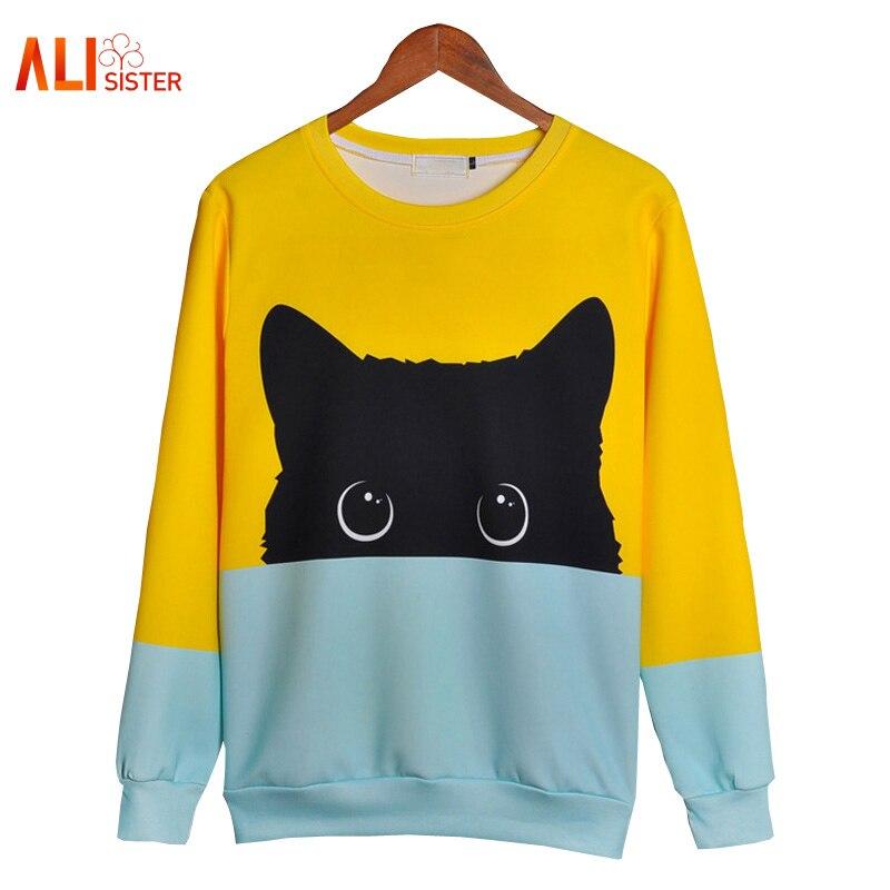 Alisister lindo gato sudaderas con capucha 3d sudadera hombres mujeres Kawaii gato negro con capucha de otoño invierno jerseys divertido Dropship