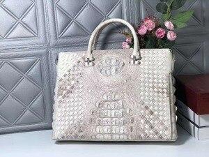Мужской деловой портфель с кожаным ремешком, из натуральной/настоящей 100% гималайской кожи, белого цвета, 2018