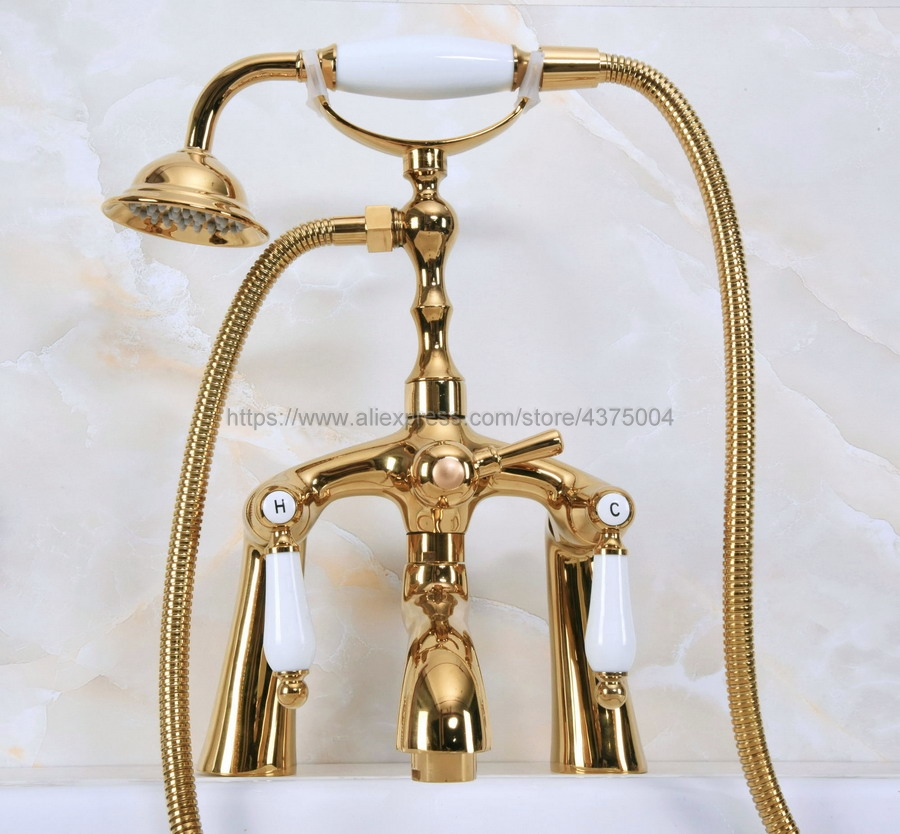 Deck Mounted Golden Bathroom Clawfoot bathtub faucet & hand shower Shower Head Kit Shower Faucet Sets Nna132
