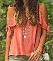 Jusian O-cuello de Las Camisetas de Las Mujeres Backless Camis Tops Naranja F00364