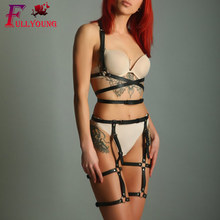 Fullyoung Sexy Sets 2PCS Women Garters Bra Harness Leg Bondage Straps Garter Adjustable Leather Punk Gothic