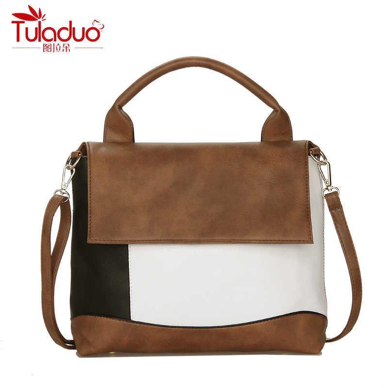 5c2a877301 Fashion Patchwork PU Leather Handbags Women Tote Luxury Brand Women  Shoulder Bags Famous Designers Women Top