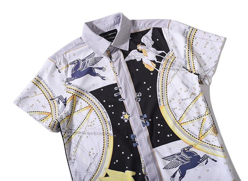 Mr. baolong 2017 звёздное небо Ангел белый horsegolden цветы Рубашки для мальчиков Для мужчин 3D Рубашки для мальчиков короткий рукав Летняя брендовая Ру...