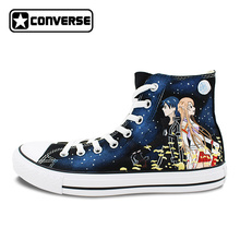 Anime Shoes Men Converse Women Hand Painted Canvas Sneakers Sword Art Online Design Custom Skateboarding Shoes All Star
