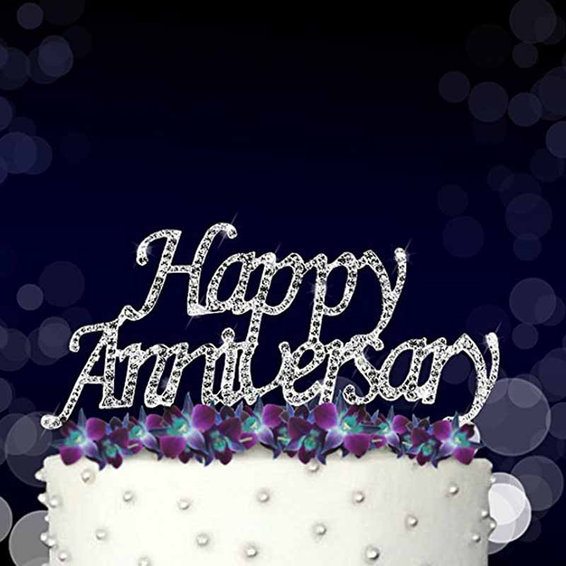 Silver Happy Anniversary Cake Topper For 10th 20th 25th 30th 40th 50th 60th Vow Renewal Table Centerpiece Decoration