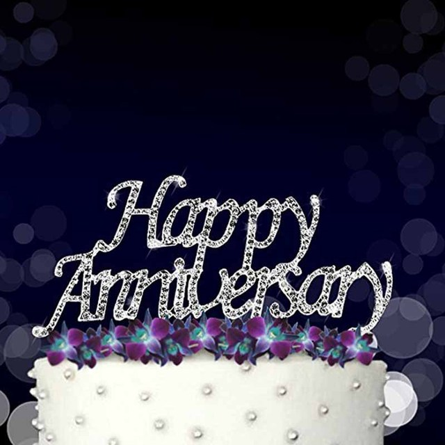 Silver Happy Anniversary Cake Topper For 10th 20th 25th 30th 40th
