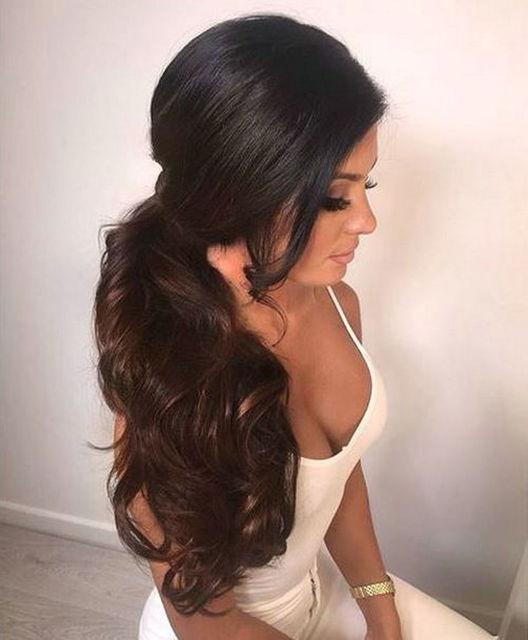 Wedding Ponytail Hair Style Side Part Curly Natural Hair Drawstring