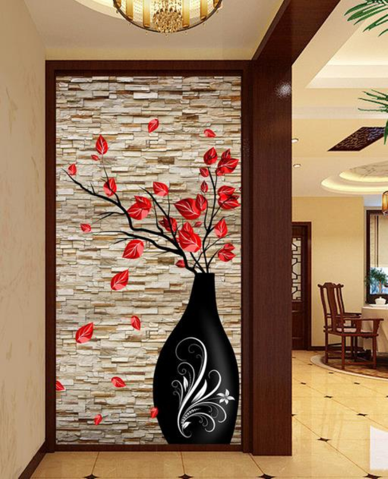 Custom 3D Stereo Photo Wall Mural Modern Vase Flower Brick Wall Wallpaper Living Room Bedroom Bathroom Door Decor Wall Paper custom mural wallpaper creative space forest path 3d wall sticker wallpaper modern living room bedroom door mural pvc home decor