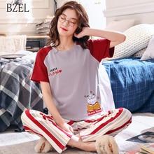 BZEL ใหม่ฤดูร้อนน่ารักชุดนอนการ์ตูนชุดผู้หญิง M 2XL Nightgown สบายสุภาพสตรีชุดนอนผ้าฝ้ายสวมใส่สบายผ้า 2 ชิ้น