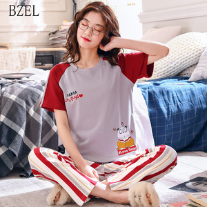 Image 1 - BZEL New Summer Cute Cartoon Pajamas Sets Women M 2XL Nightgown Comfortable Ladies Sleepwear Cotton Home Wear Leisure Cloth 2PCS